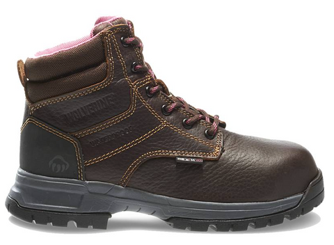 Wolverine Women's PIPER WATERPROOF COMPOSITE-TOE EH 6 inch WORK Boots Brown lighter brown stitching with brown and pink laces and pink lining shows above ankle best seller