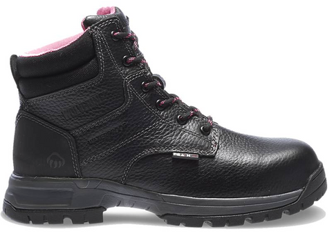 Wolverine Women's PIPER WATERPROOF COMPOSITE-TOE EH 6 inch WORK Boots black and pink laces and pink lining shows above ankle best seller