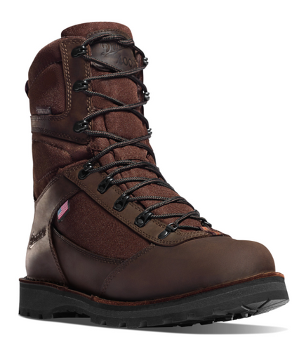 DANNER EAST RIDGE BROWN INSULATED 400G BOOTS all brown 8 inch brown laces American Flag