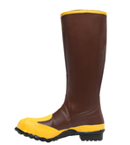 LaCrosse PROTECTA 16 inch RUST color with yellow toe and around bottom yellow around the top METATARSAL GUARD/STEEL MIDSOLE/STEEL TOE Boots small heel