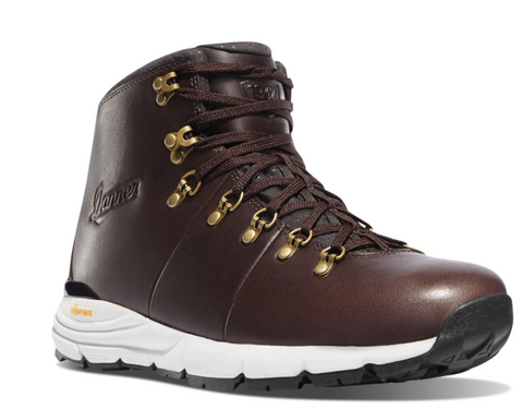 Danner MOUNTAIN 600 4.5 inch DARK BROWN Hiking Boots white around bottom brown laces danner logo on the side gold eyelets