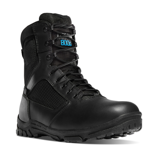 Danner LOOKOUT 8 inch INSULATED 800 grams black Boots with black laces 800 g written in bright blue on front of the tongue