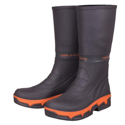 grundens deck boss rubber boots dark grey with orange accent around the sole