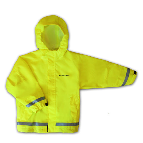 Grundens Kids and Juniors Gage Weather Watch Hooded Jacket Hi-Vis Yellow