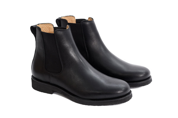 Chelsea Boots - Black Leather - Lordya