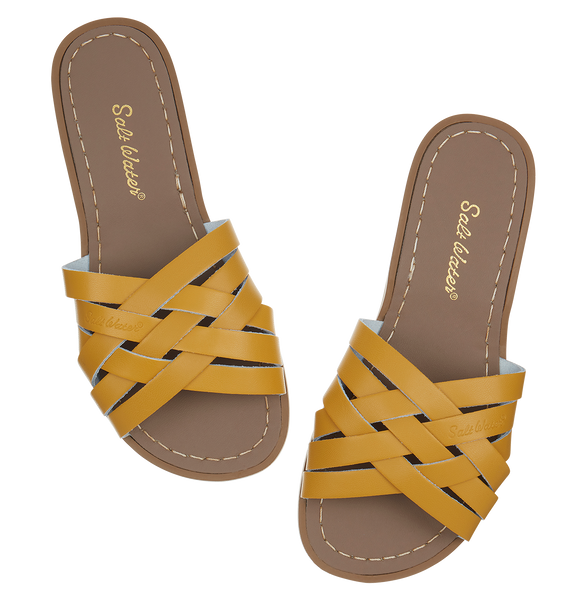 saltwater sandals retro slide adult mustard - little pearls by shoe chou