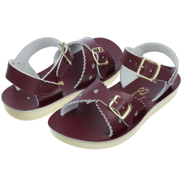 saltwater sandals sweetheart claret - little pearls by shoe chou