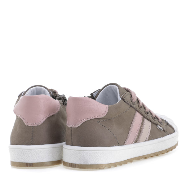 emel sneaker kid olive/pink - little pearls by shoe chou