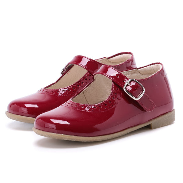 emel ballerine shiny burgundy red - little pearls by shoe chou