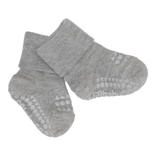 go baby go bamboo non slip socks grey - little pearls by shoe chou