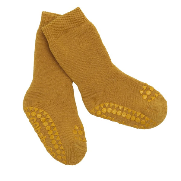 go baby go non slip socks mustard - little pearls by shoe chou