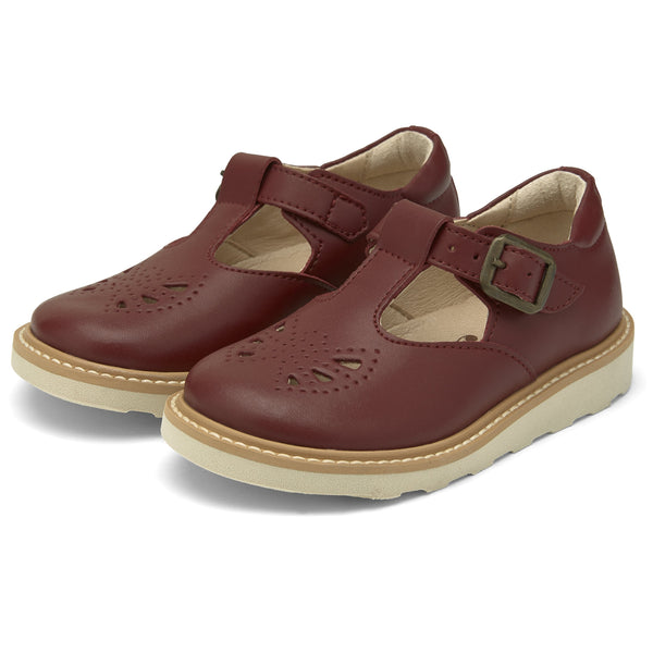 young soles kids rosie t-bar vegan cherry - little pearls by shoe chou