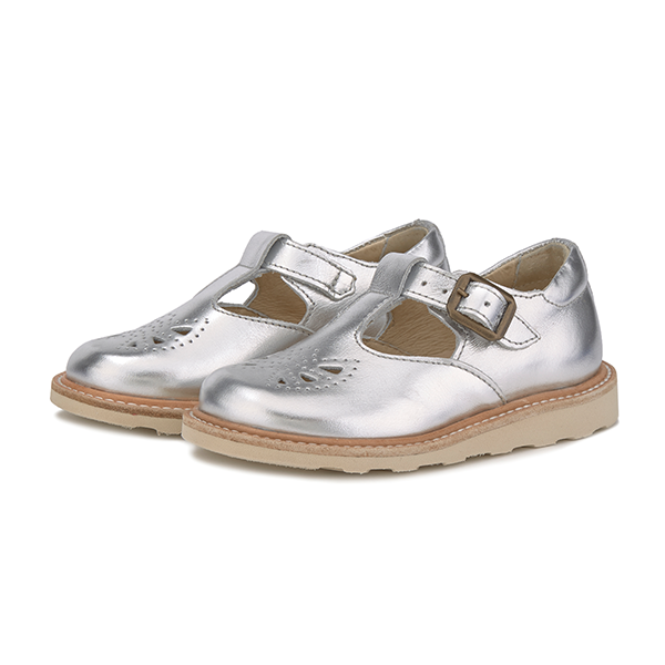 young soles kids rosie t-bar silver - little pearls by shoe chou