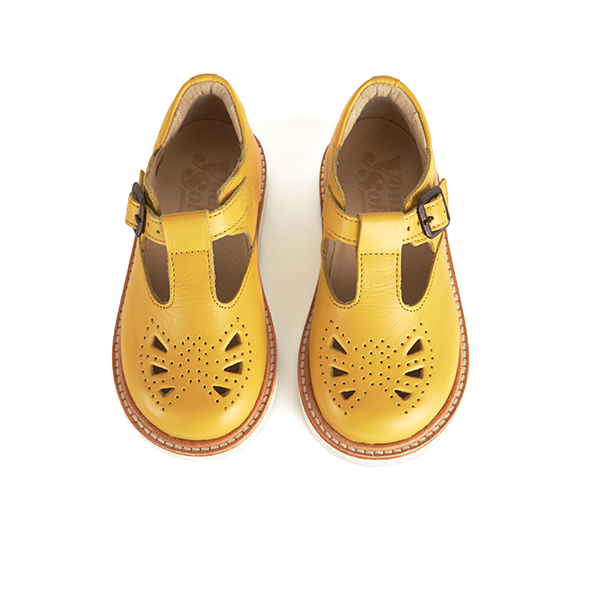 young soles kids rosie t-bar yellow - little pearls by shoe chou