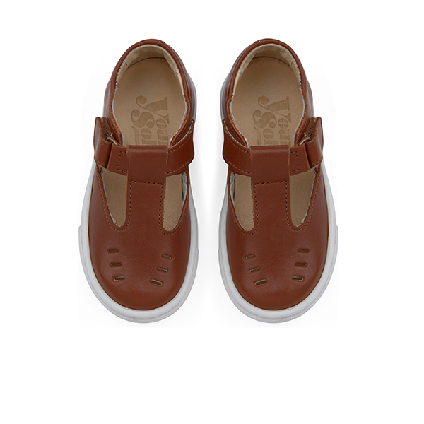 young soles kids rudy t-bar chestnut brown - little pearls by shoe chou