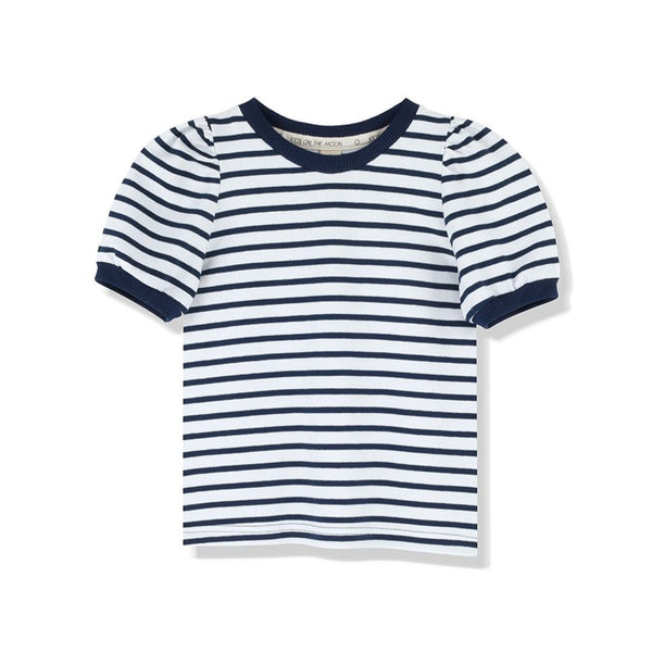 kids on the moon blue stripes puff top