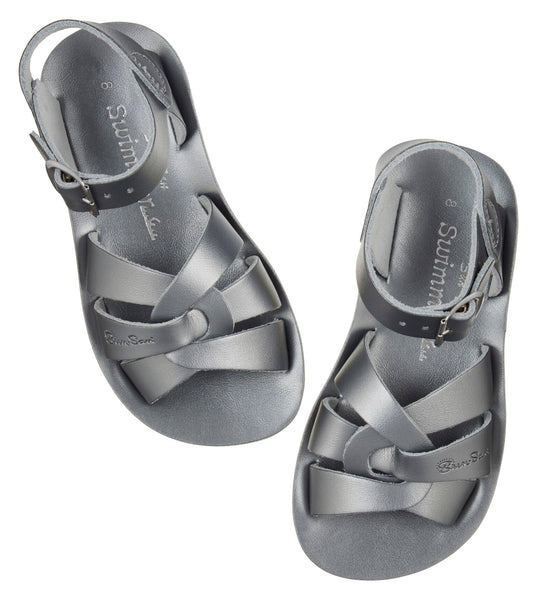 saltwater sandals swimmer pewter - little pearls by shoe chou