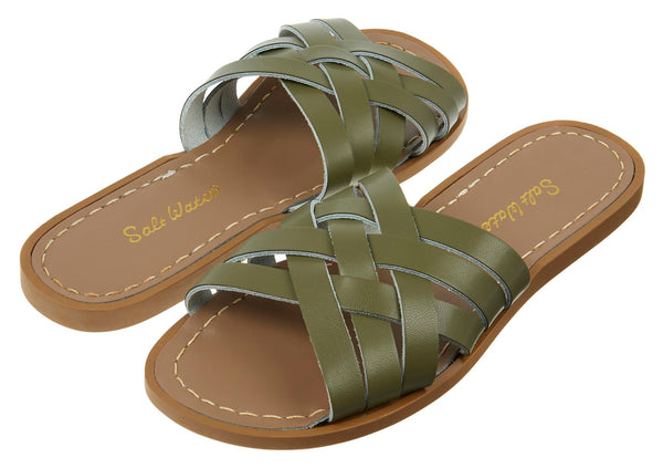 saltwater sandals retro slide adult olive - little pearls by shoe chou