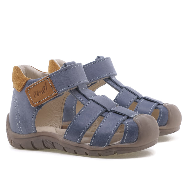 emel beginner sandal blue/mustard - little pearls by shoe chou