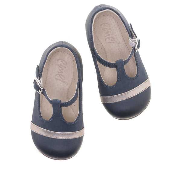 emel beginner ballerine navy/gold - little pearls by shoe chou