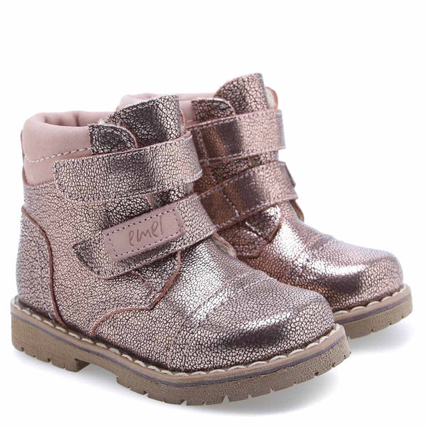 emel winter boot rose glitter velcro