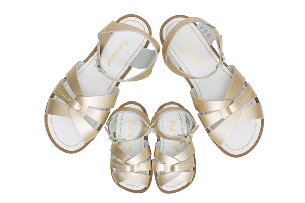 saltwater sandals original child gold - little pearls by shoe chou