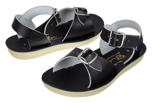 saltwater sandals surfer black - little pearls by shoe chou