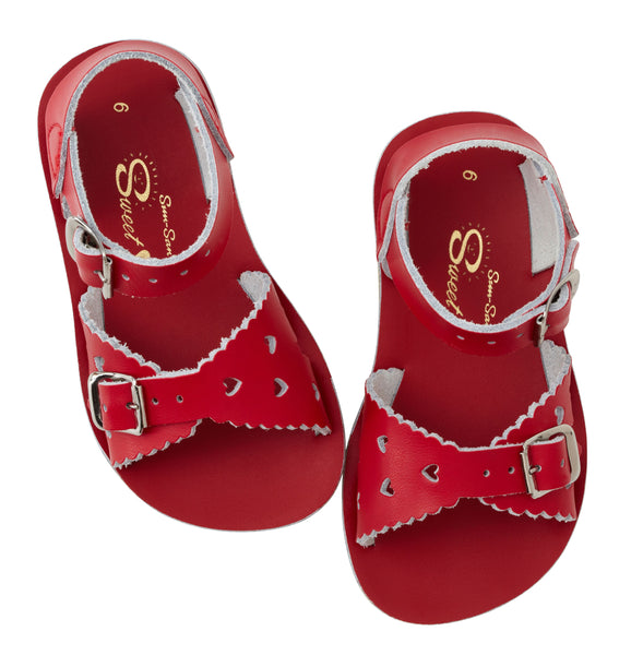 saltwater sandals sweetheart red - little pearls by shoe chou