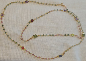 Beaded Multi-Gem Double Wrap Necklace