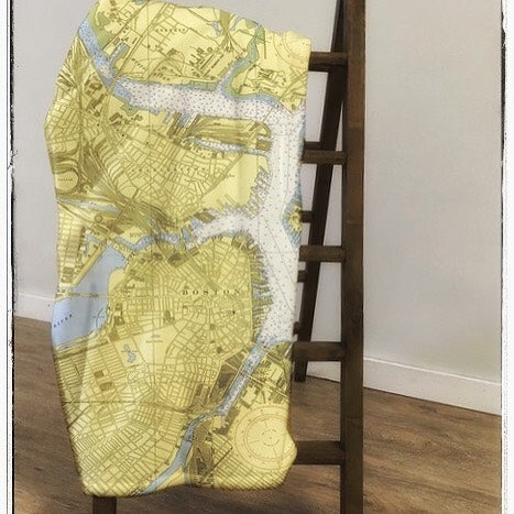 Vintage Boston Map Blanket