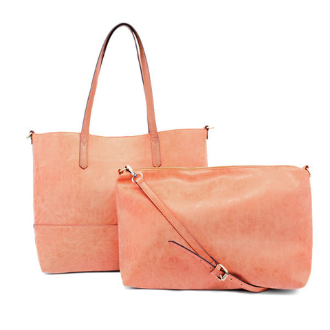 Vegan Brushed 2 in 1 Tote Apricot