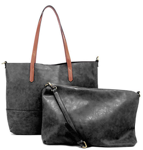 Vegan Brushed 2 in 1 Tote Black