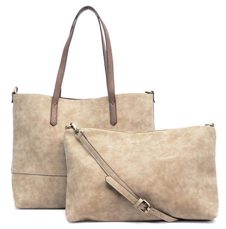 Vegan Brushed 2 in 1 Tote Latte