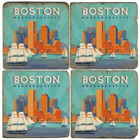 Italian Marble Coasters-Boston in Color