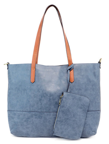 Vegan Brushed 2 in 1 Tote Navy
