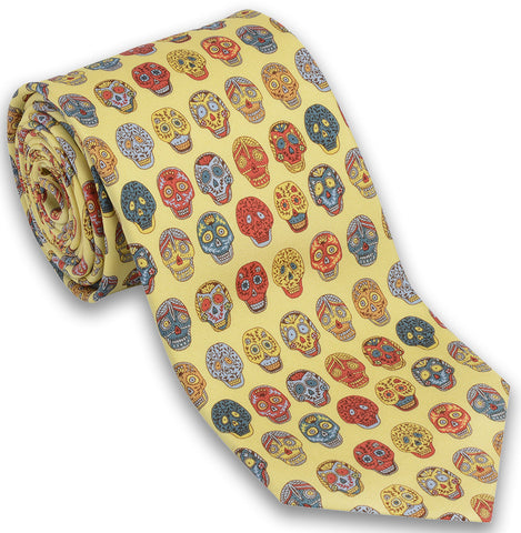 "100% Silk Tie made in NY ""Day of The Dead"""