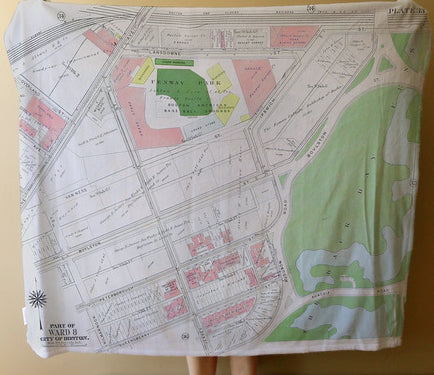 Vintage Fenway Park Map Blanket