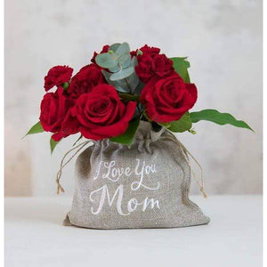 """I Love You Mom"" Embroidered & Lined Jute Drawstring Bag"