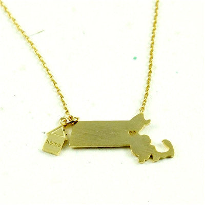 Massachusetts State Necklace-Gold