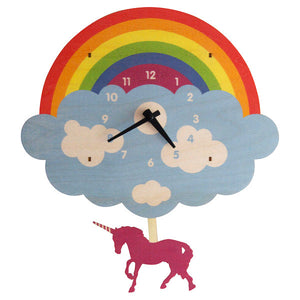 Rainbow Unicorn Pendulum Clock