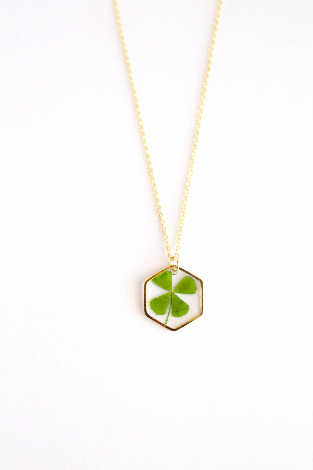 Four Leaf Clover Hexagon Necklace