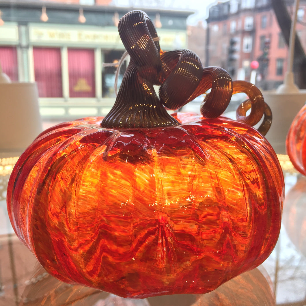 "Hand blown glass pumpkin 5"" tall"
