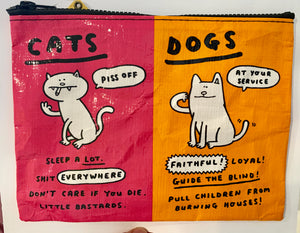 "Blue Q Travel Pouch ""Cats and Dogs"""