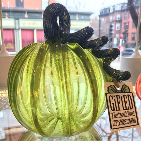 "Hand blown glass pumpkin 6"" tall"