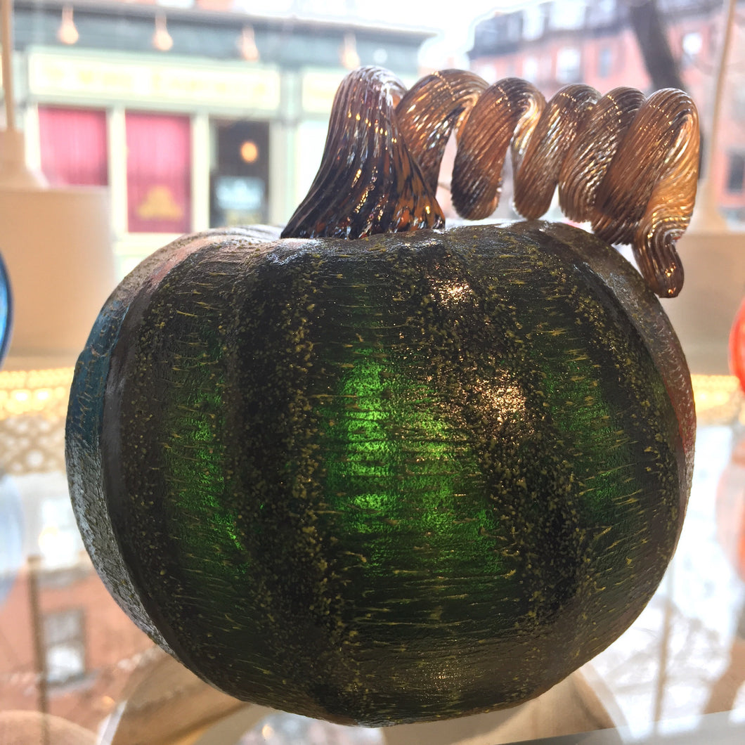 "Hand blown textured glass pumpkin 4"" tall"