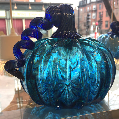 "Hand blown glass pumpkin 5 /2"" tall"