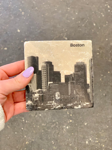Boston Skyline Marble Coaster