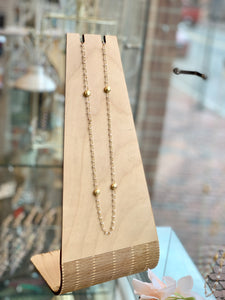 Moonstone & Gold Double Wrap Necklace