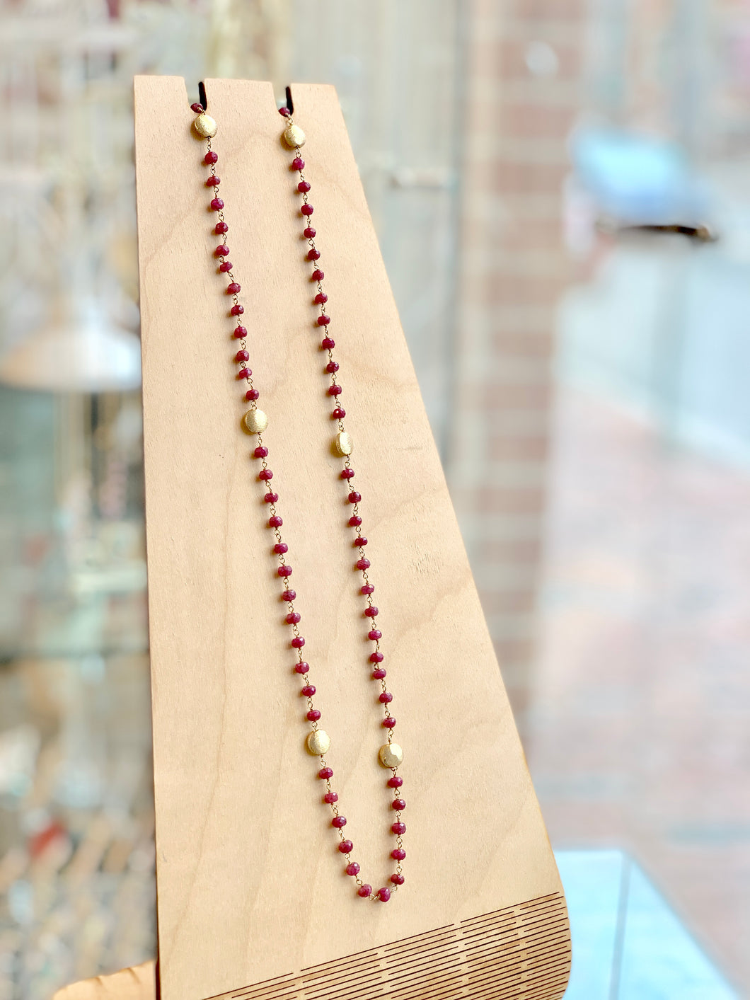 Ruby & Gold Double Wrap Necklace