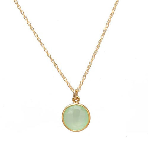 Lime Green Chalcedony Gemstone Necklace